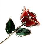 Red Rose Preserved in Lacquer and Platinum Trimmed