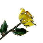 Real yellow rose preserved in lacquer and trimmed in platinum