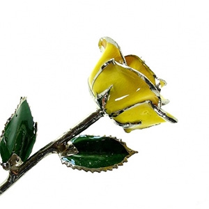 Yellow Lacquer and Platinum Tipped Rose