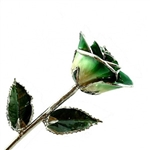 Green Two-Toned Rose Trimmed in Platinum