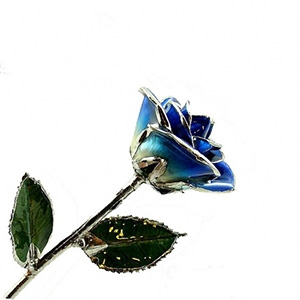 Blue Two-Toned Rose Preserved Forever and Trimmed in Platinum