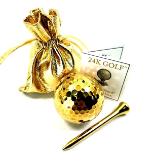 24K Gold Dipped Golf Ball and 24K Tee – 1