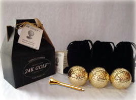 24K Gold Dipped Golf Ball and 24K Tee-Three - These make great corporate gifts!