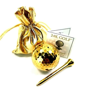 24K Gold Plated Golf Ball and Gold Tone Tee