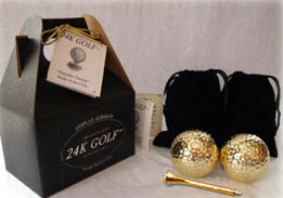 Two 24 Karat Gold Plated Golf Balls and Two Gold Tone Golf Tees