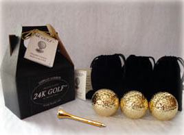 24K Gold Dipped Golf Ball and Gold Tone Tee-Three - Give the gift of gold for any occasion!