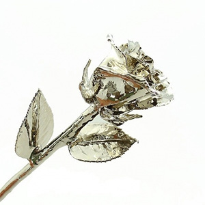 Silver Plated Rose Open Bud - Gold, Platinum and Silver Gold Roses