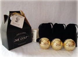 Gold Tone Golf Ball-Three - This makes a great golf gift for any guy!