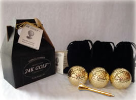 Gold Tone Golf Balls and Tees - Three