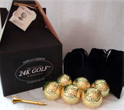 Gold Tone Golf Balls and Tees - Six