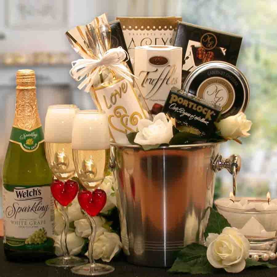 Treat your significant other to a romantic evening with a champagne bucket loaded with sweet and savory treats, candles and more. Treat your guy or gal to a relaxing romantic evening with this Romantic Gift Basket for Two. This gift is perfect for setting #gift