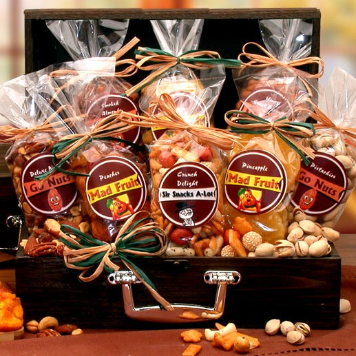 Assembled in an attractive wood chest these healthy nut and fruit snacks are full of flavor and oh so delicious. #gift