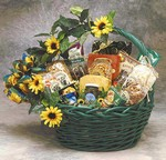 Sunflower Treats Gift Basket - Brighten someone's day with this cheerful gift basket!