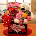 Huggable Bear Kids Valentine Gift Box - A collection of sweet treats, activities for children and a plush bear.