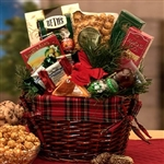 An Old Fashioned Christmas Gift Basket Filled with Gourmet Foods
