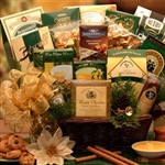 A Holiday Sampler Basket with a sampling of great gourmet treats