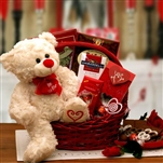 Say You'll Be Mine Valentine Gift Basket - A teddy bear and an assortment of sweet treats for Valentines Day.