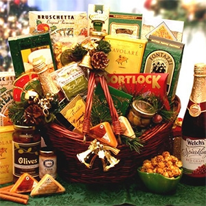 Holiday Entertainer Gift Basket - Everyone will have a sweet spot for this impressive gift basket design.