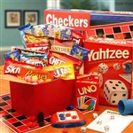 A huge gift box full of snacks and games for the whole family