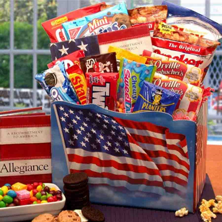 Stars & Stripes Forever! Yummy! An all American traditional favorite gift box! A patriotic yet delicious way to send your deepest sentiments to your loved ones in harms way. Thanks for keeping us Safe! Available in two sizes. #gift