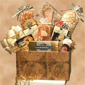 A gift box with classic globe images filled with snacks