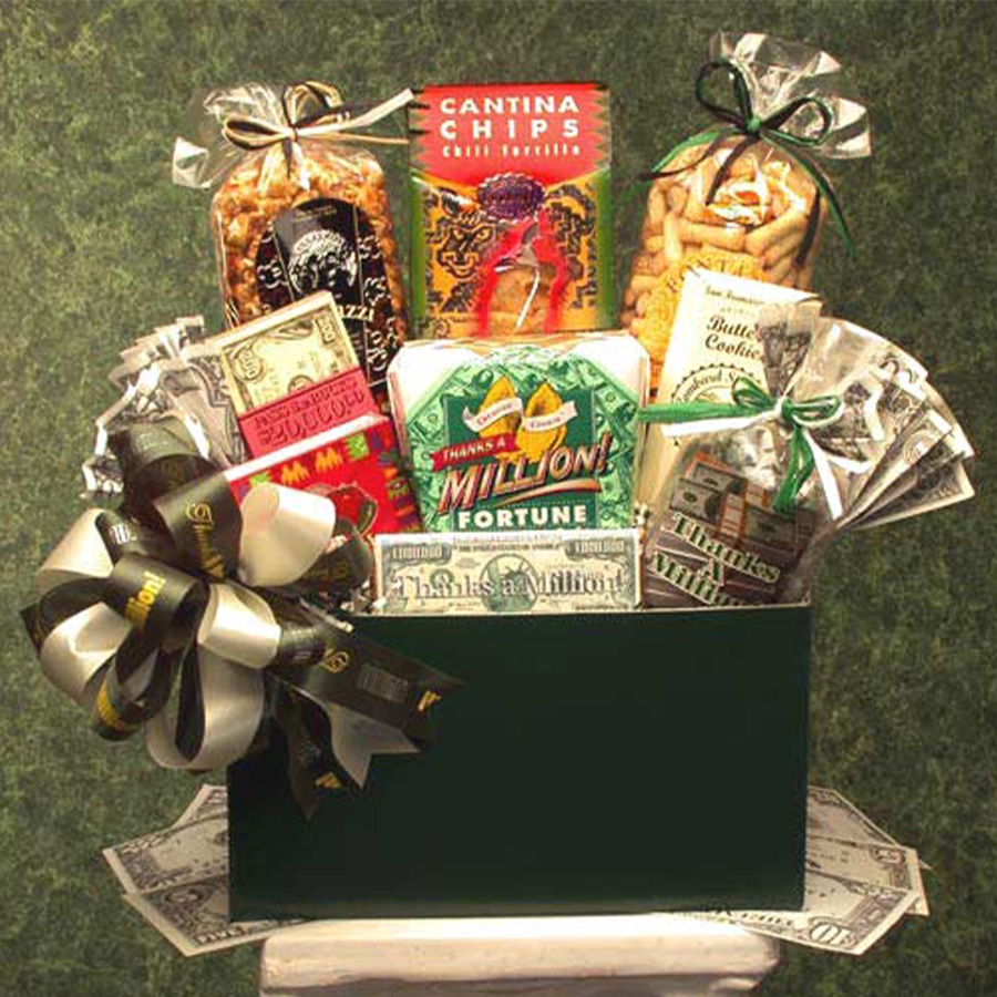 Stuffed with All the Right Goodies! Thank them a Million times with this Gift Basket! This gift basket will make anyone feel like a million dollars. It's loaded with tons of treats and snacks for that special thank you they deserve. Let them know how much #gift