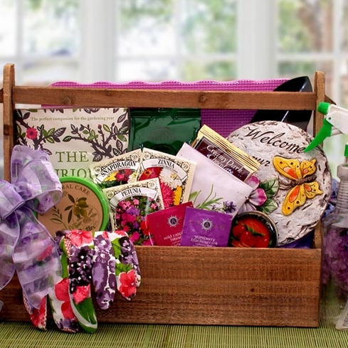 Handy wood tool tray features a beautiful garden stepping stone and garden book. Know a gardener with a green thumb? Show them how much you appreciate their talent with our Green Thumb Gardening Tote including a beautiful ceramic garden stepping stone, ga #gift