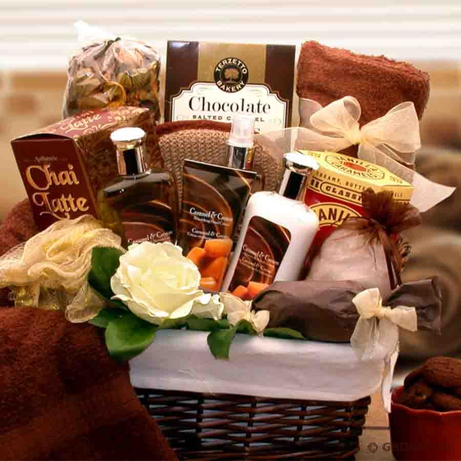 A spa gift that features full size bottles of Caramel and Cream body potions.This luxurious spa basket is a gift that surrounds the body in an intoxicating essence that is exotic, delicate, and thoroughly romantic. Creamy caramel and soothing cream infuse #gift