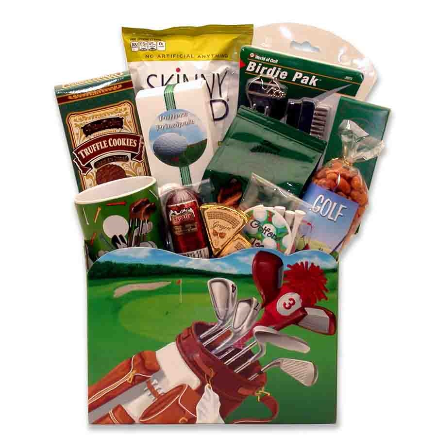 A Golfers Dream box! All golfers will delight in this special theme basket! Loaded with golf goodies for all the golf pros on your list. No mulligans allowed! #gift