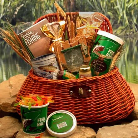 A large wicker fisherman's creel loaded with useful items and snacks for your fisherman. #gift
