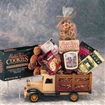 Wooden Antique Truck filled with Gourmet Gifts for Him