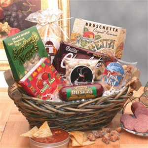 Wicker Gift Basket with Snackers Favorite Classic Snacks