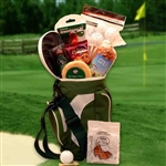 A back pack ice cooler shaped like a golf bag filled with golfer's accessories and snacks.