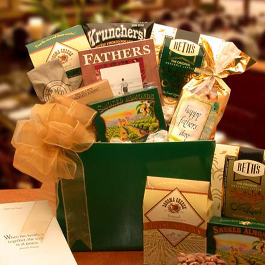 This terrific gift box of sausage, cheese sweet treats & snacks includes a Loving Fathers Are Forever book. #gift
