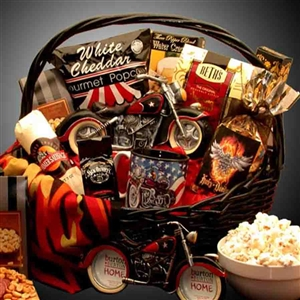 Motorcycle Man Gift Basket - A collection of motorcycle themed accessories including a mug, picture frame, bandana and gourmet treats for the motorcycle enthusiast on your list.