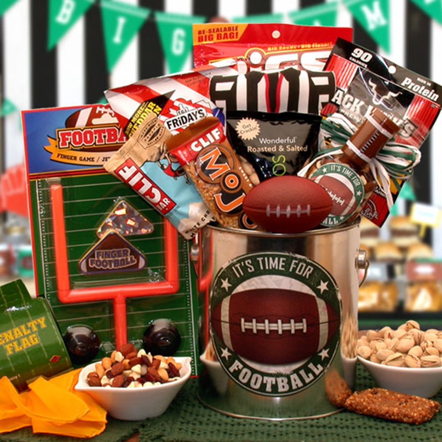 Filled with fanfare to last the entire game and even a game to play during halftime. It's Time for football! Send your favorite football fan a real treat. Every football fan will love the roasted and salted pistachios, the delicious cheddar bacon chips sn #gift