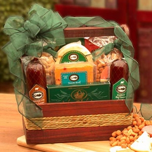 Mans Meat and Cheese Snack Gift Basket - Dads Love this Gift!