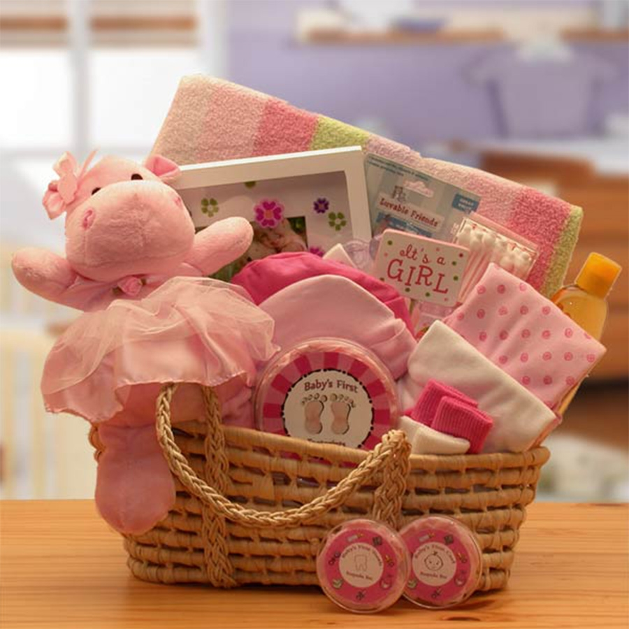 New Arrival Pink Baby Carrier Gift Basket | New Baby Gift Baskets ...