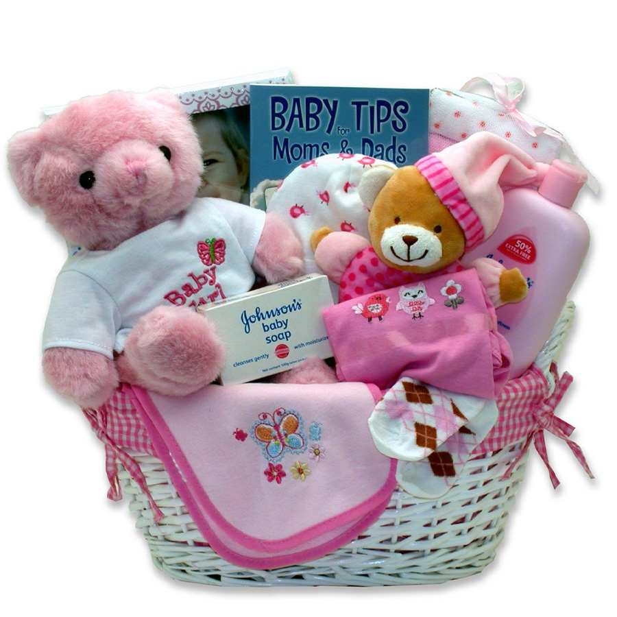 New Baby will be Lovingly Cared for Here! New Moms and Dads will Appreciate this Gift! Give this beautiful lined storage hamper loaded with necessities that your New Baby Girl will need. This gift also has a sweet Teddy Bear, booties, and a book of Baby T #gift