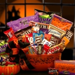 No Tricks Just Treats Halloween Goodies Bucket- Halloween Bucket filled with all the traditional favorites and a few new tasty treats.