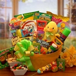 Easter Sunshine Gift Basket - Plush duck, treats and activity basket