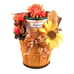 Autumn old time bushel basket planter filled with yummy breakfast food items