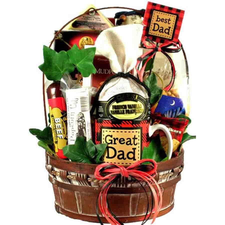 A Perfect Father's Day Gift - Remind your dad how great he is with our Great Dad Gift Basket. This handsome gift basket features an attractive reusable painted wooden basket filled with gifts and hardy gourmet goodies he will love. A Great Dad coffee mug #best