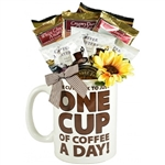 A Giant Coffee Mug filled with Coffee Selections and Treats
