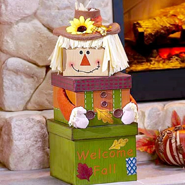 Three box gift tower makes a scarecrow delivering snacks. Greet recipients in style with this super charming tower of keepsake boxes filled with tasty fall treats! This adorable autumn gift tower includes the set of three Autumn Greetings decorative boxe #gift