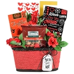 Red and white gift basket filled with cookies, popcorn and nuts made for Valentine's Day