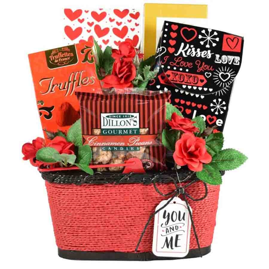 This love themed gift basket is filled with scrumptious chocolates and sweets sure to make them melt! #gift