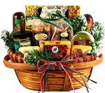 Home For The Holidays Christmas Gift Basket - A combination of cheese, meats, snacks and sweet treats.