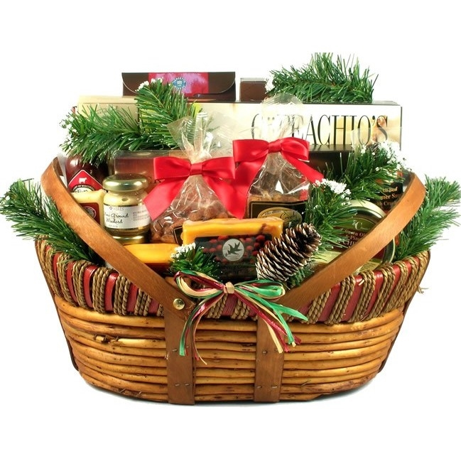 We have filled this very handsome and unique wooden basket with a tasty combination of fine cheese, meats and summer sausage, dips, snacks and sweet treats. Available in two sizes. Add an optional cutting board. A great gift for the guys! Contents include #gift