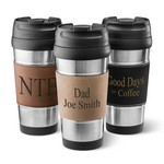Faux Leather Wrapped Customized Stainless Steel Mug with Lid
